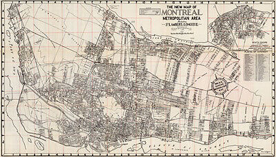 Large Montreal Map Vintage Antique 1954- The S.A. Renouf Advertising Company
