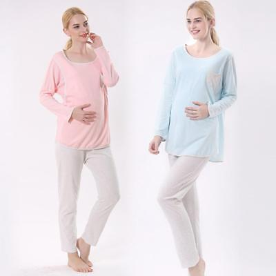 Pregnant Nursing Maternity Pajamas Set Sleepwear Breastfeeding Nightie for Women