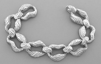 TIFFANY & Co. STERLING SILVER LARGE HEAVY WOOD BRACELET