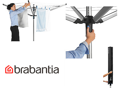 Brabantia 60m Lift-O-Matic Rotary Clothes Airer Dryer 4 Arm With Spike & Cover