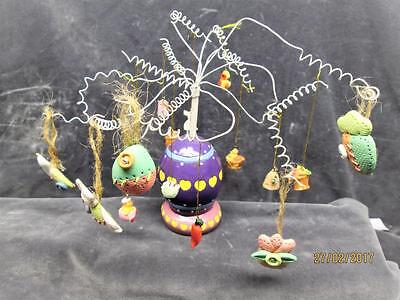 Vintage 80's Colorful Easter Egg Tree With 17 Mini Ornaments