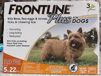 2 PACK Frontline Plus For Dog  5 to 22 lbs  3 Doses SMALL  DOG  US EPA APPROVED!