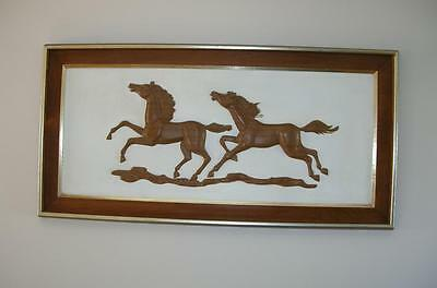 RARE Vtg MID Century  HORSES Dimensional TURNER Wall Accessory HANGING  46 x 23
