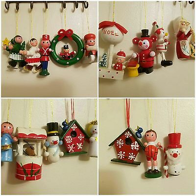 Vtg Wooden Christmas Ornaments Lot Of 19 Figural Painted Taiwan 1970s