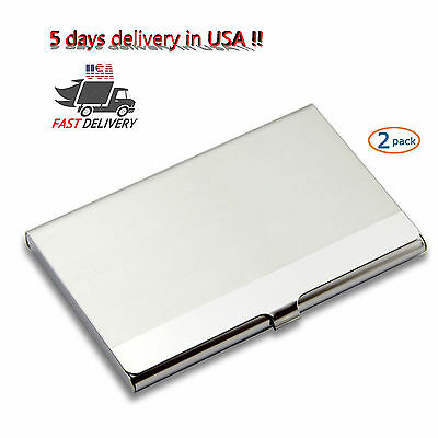 New Silver Stainless Steel Business Card Name Card Holder Case ID Credit Wallet
