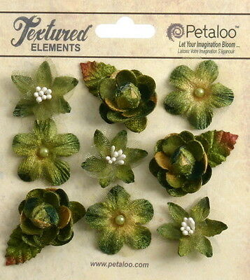 Textured Mini MOSS GREEN Blossoms x 9 Fabric Flowers 25-30mm Petaloo
