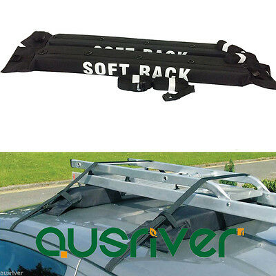 2x Universal Soft Car Roof Racks Top Luggage Carrier Kayak Holder 60kg Capacity