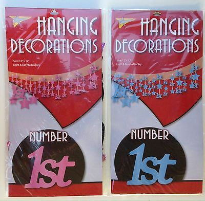 """1 x Baby Boy Or Girl 1st Birthday Party Hanging Decoration 12"""" x 12"""" BN"""