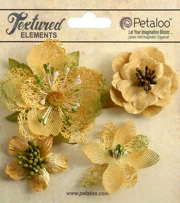 Mixed Textured Blossoms AMBER x 4 Fabric Mesh Flowers 35-60mm Petaloo