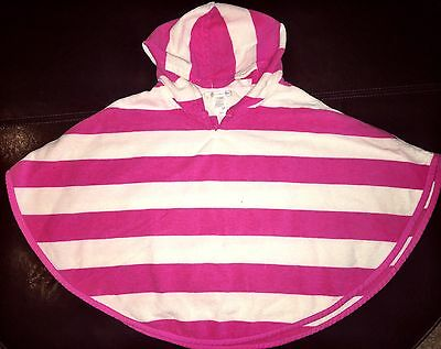 Pottery Barn Kids 12-18 Mos Rugby Stripe Hooded Beach Cover Up Towel Pink Poncho
