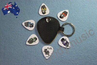 Guitar Pick Holder Keychain Design Plectrum Bag Pick Case + 6 Picks NEW