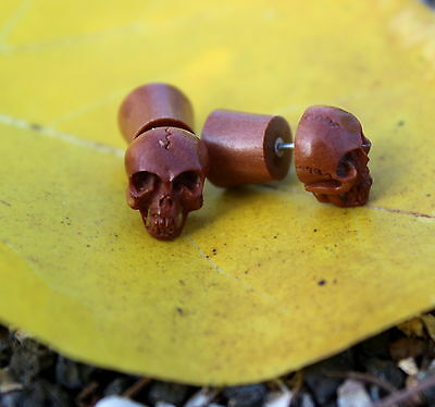 SKULL Organic Fake Gauges Wood Earrings tribal style hand made naturally