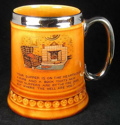 Lord Nelson Pottery Treacle Glaze Chair & Pipe by the Fireplace Mug