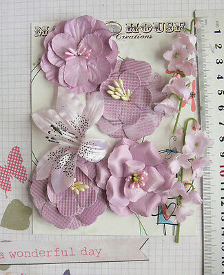 LAVENDER PINK 3 Tones 5 Styles = 4 PAPER & 3 SILK Flowers 18-60mm Manor H