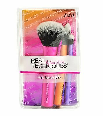 Real Techniques Mini Brush Trio Set Foundation Eye Shadow Face Makeup Tools 1416