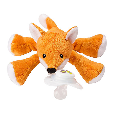 Nookums Paci-Plushies Fox Shakies - Universal Pacifier Holder and Rattle (2 in 1