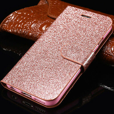 Luxury Magnetic Bling Glitter Leather Flip Case Wallet Cover For Apple Samsung