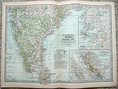 Original 1897 Map of Southern India by The Century Company