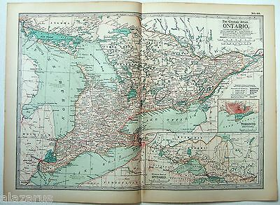 Original 1902 Map of Ontario - A Nicely Detailed Color Lithograph