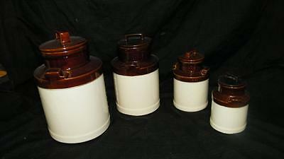 VINTAGE McCOY 4pc POTTERY MILK CAN KITCHEN CANNISTER SET 330 332 333 COOKIE JAR