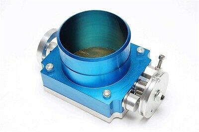 Aluminium Butterfly valve 3 1/2in Blue with Adapter board to screw in / welding