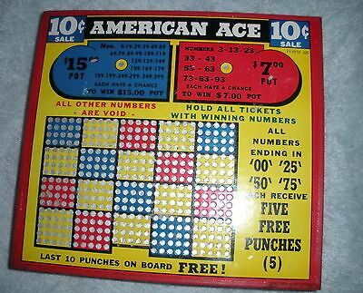NA-082 - Punch Board Trade Stimulator American Ace 10-Cents Unpunched