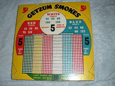 NA-083 - Punch Board Trade Stimulator Getzum Smokes Square 5-Cents Unpunched