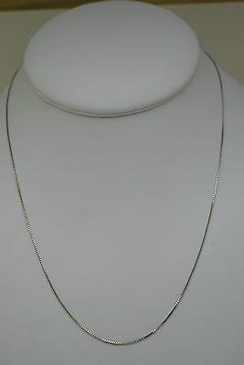 10K white gold 18 inches fine box link style chain