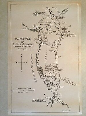 Vintage 1957 Nautical Sketch Chart Bahamas 'Man Of War to Little Harbour' Map