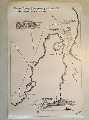 Vintage 1957 Nautical Sketch Chart Bahamas 'Hope Town Harbour Channel' Map