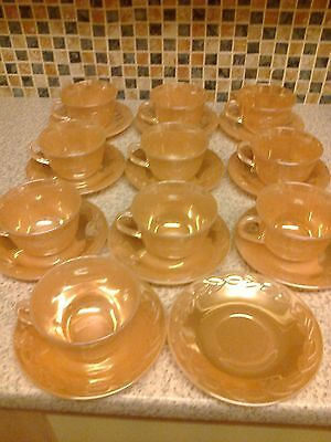 Anchor Hocking Fire - King Ware Orange Luster Pyrex Glass 10 X Cups 11 X Saucers