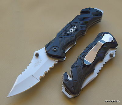 8.5 Inch Razor Tactical Spring Assisted Rescue Knife With Pocket Clip New!!