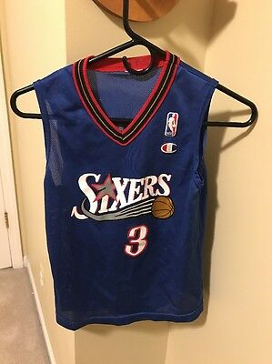 36b932053    vintage Allen Iverson Philadelphia 76Ers Jersey Youth S Blue Champion Nba   3