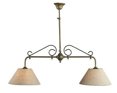 Ceiling Light Brass Lamp 2xE27 Cloth Screen Antique Handmade from Italy