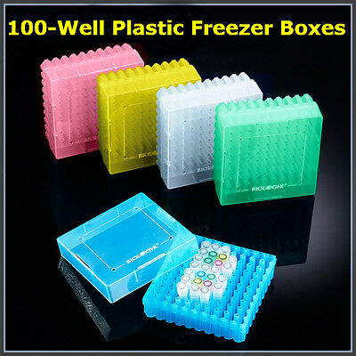 2-Inch 100-Well Cryogenic Vials Microcentrifuge Tubes Storage Boxes, 20x