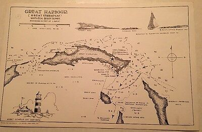 Vintage 1956 Nautical Sketch Chart Bahamas Great Harbour Northern Berry Islands