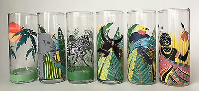 Panache 70s Vintage Set Of (6) Highball Glasses Tumblers Tribal African Animals