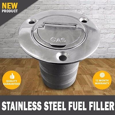 "NEW 2"" Boat Deck Fill Keyless Cap Fuel Marine 316 Stainless Steel"