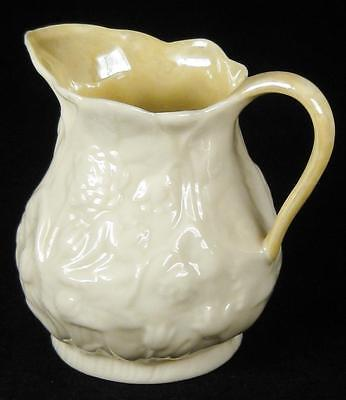 Belleek Embossed Floral Small Milk Jug Green 5th Mark