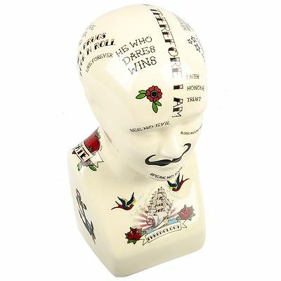 Carnival Phrenology Head Tattoo Print Miniature Strongman Novelty Gift