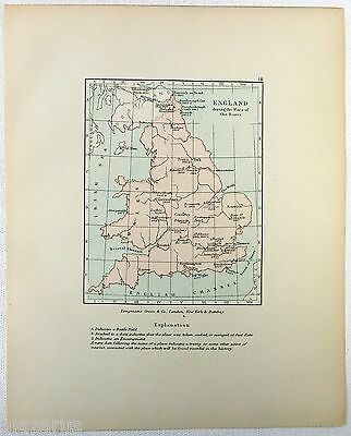 Vintage Longmans Map of England During the War of the Roses
