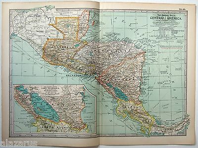 Original 1902 Map of Central America by The Century Company