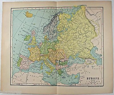 Original 1908 Dated Map of Europe by Dodd Mead & Company