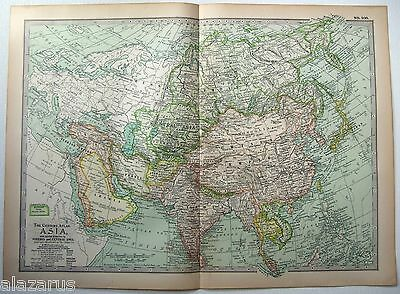 Original 1902 Map of Asia by The Century Company