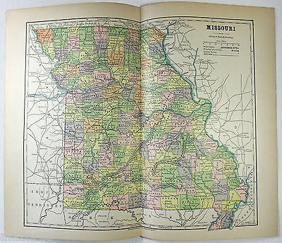 Original 1882 Map of Missouri by Phillips & Hunt