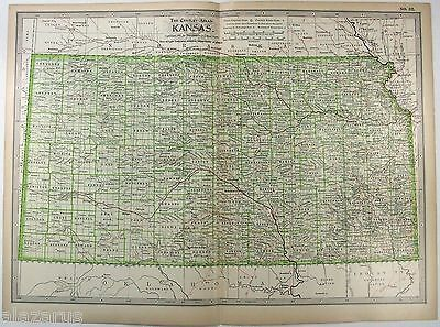 Original 1897 Map of Kansas by The Century Company