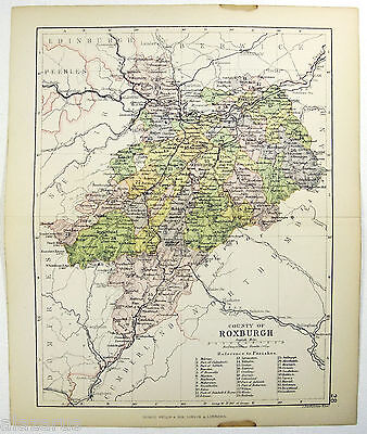 Original 1882 Map of The County of Roxburgh, Scotland by G. Philip & Son