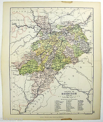 Original Philips 1882 Map of The County of Roxburgh, Scotland