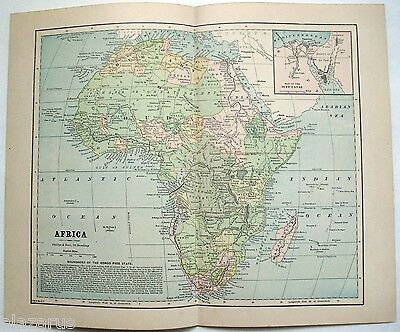 Original 1887 Map of Africa by Phillips & Hunt