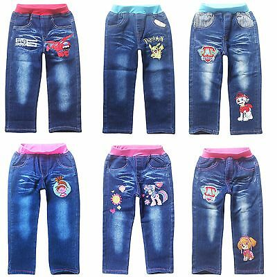 Spring Fall Kids Girls Boys Denim Jeans Pants Everyday Party Cartoon Trousers